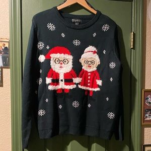 Christmas sweater with Mr. and Mrs. Santa Clause